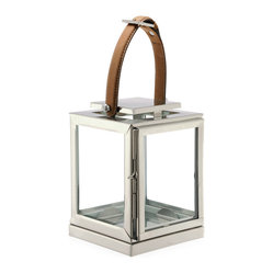 DK Living - Marcus Modern Floor Candle Lantern with Leather Handle, Small - Buckle up. You are about to be ignited by this striking candle lantern. Standing at 40-inches tall, crafted from brass and finished in polished nickel with a strapping leather handle, it will appeal to your rugged and chic nature brilliantly.