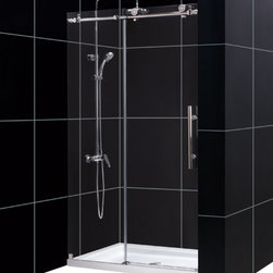 DreamLine - DreamLine SHDR-61487610-07 Enigma-X 44 to 48in Fully Frameless Sliding Shower Do - The Enigma-X sliding shower door is the epitome of style, innovation and quality. The sleek Fully frameless design and high functioning performance deliver the look and feel of custom glass at an exceptional value. The impressive 3/8 in. thick tempered glass is factory treated with DreamLine exclusive ClearGlass protective coating for superior protection and easy maintenance. The substantial stainless steel hardware is the perfect marriage of urban style and effortless operation. Take your bathroom design to the limit with the high quality and sublime styling of the Enigma-X sliding shower door. 44 - 48 in. W x 76 in. H ,  Premium 3/8 (10 mm) thick clear tempered glass,  Brushed or polished stainless steel hardware finish,  Fully frameless glass design,  Width installation adjustability: 44 - 48 in.,  Out-of-plumb installation adjustability: No,  Advanced fully frameless glass design,  Effortless sliding operation with large wheel assemblies on a stainless steel track,  DreamLine exclusive Clear Glass protective anti-limescale coating, Stainless Steel