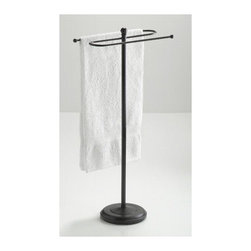 Taymor - Taymor Floor Standing Towel Valet in Oil Rubb - Coated Oil Rubbed Bronze finish. Floor standing. Weighted base. Holds two full size bath towels. Can also hold two hand towels. Wipe with clean and soft damp cloth. Do not use polishes, chemicals or abrasives. Manufacture Warranty: 1 year. Made from plated steel. Minimal assembly required. Arms: 16.5 in. W. Base: 11 in. Dia.. Overall: 38.5 in. H (15 lbs.). Assembly instructions