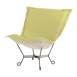 Howard Elliott - Sterling Willow Scroll Puff Chair - Titanium Frame - The Sterling Puff Chair is a simple yet sophisticated piece. The fabric features a hopsack look with a crisp hand rich color.