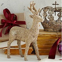 Glittering Reindeer - Prancer - New - Prancer is the belle of the herd, with her glittering coat and proud stance. Take her home and add her to your Christmas spread. Place close to the candlelight for an extra bright and very dazzling effect. Handfinished on lightweight resin, so it fits almost anywhere. Made with glass glitter, so handle with care.