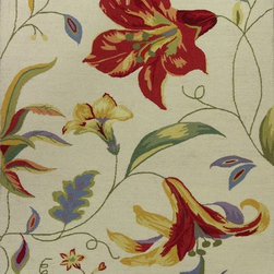 """Kas - Country & Floral Colonial 8'x10'6"""" Rectangle Ivory Area Rug - The Colonial area rug Collection offers an affordable assortment of Country & Floral stylings. Colonial features a blend of natural Ivory color. Hand Hooked of 100% Wool the Colonial Collection is an intriguing compliment to any decor."""