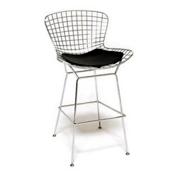 Wire Steel Bar Stool with Black Vinyl Seat Cushion - Unique style with the Wire Steel Bar Stool with Black Vinyl Cushion. A steel wire frame molded and formed into a wire mesh design contoured for comfortable seating. Silver stainless steel finish. Includes a black vinyl seat cushion. Lightweight with a modern contemporary look. Chair dimensions: 21W x 23D x 46H inches. Seat height: 30 inches.