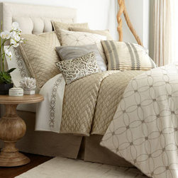 "Dransfield & Ross - Dransfield & Ross Queen Circles Duvet Cover, 90"" x 96"" - Fun patterns mix with luxurious textures in wonderfully neutral bed linens from Dransfield & Ross®. Made in the USA with imported materials. Dry clean. Duvet covers of linen/rayon are embroidered with a circles pattern. Ogee-quilted coverlets and..."