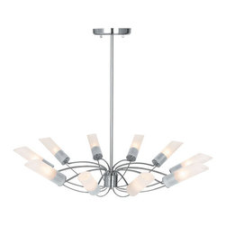 "Access Lighting - Access Lighting 50510 Ten Light Up Lighting Chandelier from the Solar Collection - *Ten light up lighting chandelier featuring frosted glassRequires 10 60w Candelabra Base Bulbs (Not Included)Includes one 6"", one 16"", and one 22"" stems"