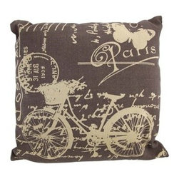 Brown / Tan Canvas French Postcard Bicycle Theme Throw Pillow 16 Inch - This throw pillow is a wonderful accent for anyone who loves all things French! It features a postcard style bicycle theme on the front, in tan, against a brown canvas cover. The pillow measures 16 inches by 16 inches, and has a zipper on the back of the cover so you can remove and wash it. The pillow insert is 100% polyester. It looks lovely on beds, chairs, and couches anywhere in your home, and makes a great gift for a friend.