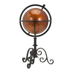 """Imax - Metal Sarlin Decorative Globe - *Dimensions: 20.5""""h x 10.75""""w x 12"""""""
