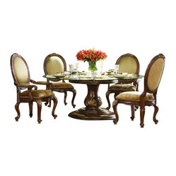 Hooker Furniture - Round Glass Top Dining Table - Gather around to dine in the round! Made from solid hardwood this beautiful dining table is transformed into an inviting place to break bread. Easily seats six, so the whole family has plenty of elbow space.