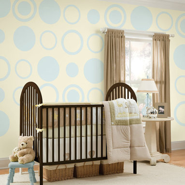 """Baby Blue Dots-Concentric Dots Set of Wall Decals - The perfect shade of blue and not just for boys! This pack includes eight 13"""" Baby Blue dots and eight 13"""" Baby Blue concentric dots (24 pieces total). All WallPops are repositionable and always removable."""