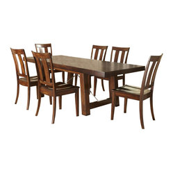 Liberty Furniture Tahoe 8 Piece 90x40 Rectangular Dining Room Set w/ Server in M