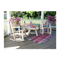 "Rustic Cedar - Porch Rocker Set in Light Cedar with Round Coffee Table - Our popular Porch Rocker Set in Light Cedar wood with matching round coffee table instantly transforms your deck, yard or patio into a place of peaceful relaxation!  Each piece in this rustic set is built to last from naturally decay resistant Cedar wood. * Porch Rocker: 29"" x 22.5"" x 39.5"", Weight: 35lbs.. Coffee Table: 27"" x 18"", Weight: 25lbs."