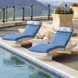 Portofino™ Comfort 3pc Chaise Set in Chalk - The Portofino™ Comfort Deluxe 3-piece Chaise Lounge Set is the ultimate in comfort and value when it comes to relaxing outdoors. Elegant and ergonomic design features a gentle wave shape that looks great anywhere, and is the ultimate enhancement for backyard retreats, pools, decks, resorts and more. Comfortable five-way adjustable backrest and four-post fold out feet allow you to position the lounger in the most comfortable seating position. Set includes matching lounge side table.