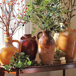 Sicily Vases - Terra-cotta vases in hues of cranberry, ochre and persimmon are a perfect way to warm up a space for fall. Add some foliage or branches for a decorative touch.
