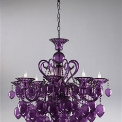 Bella Vetro Chandelier by Cyan Design - The Bella Vetro Chandelier features hand-blown glass finished in a vibrant purple hue, perfect for adding drama to any space.