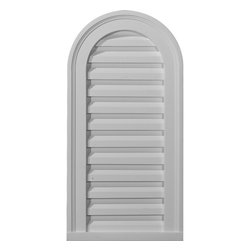 """Ekena Millwork - 14""""W x 32""""H Cathedral Gable Vent Louver, Functional - Gable vents offer not only a beautiful exterior piece, but also add to keeping the appropriate ventilation for your attic.  Our urethane gable vents come to you fully primed and ready for your paint.  They easily mount to the surface of your home, over your existing ventilation hole, to add airflow and beauty to your home."""