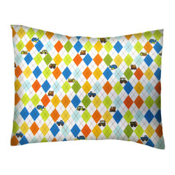 SheetWorld - SheetWorld Twin Pillow Case - Argyle Transport - Made in USA - Twin pillow case. Made of an all cotton flannel fabric. Side opening. Features Argyle Transport.