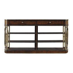 Stanley - Avalon Heights Empire Media Console - House all your entertainment needs in style with our Empire Media Console. Designed as an understated addition to any room, the console provides ample space for all manner of media equipment without overwhelming a room. Four removable and one stationary shelf allow you to create your own arrangement, while two drawers provide hidden storage for extra cords, remotes or anything else. A built-in electrical outlet is an additional handy feature. Finally, because form is as important as function, the console features Avalon Heights signature interlocking metal oval motifs on the rounded ends that coordinate beautifully with the aged cherry finish.
