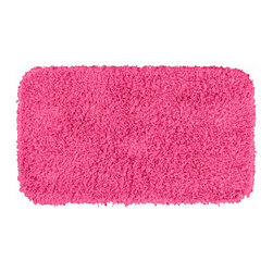 "Sands Rug - Quincy Super Shaggy Pink Washable Runner Bath Rug (2'6"" x 4'2"") - Jazz up your bathroom, shower room, or spa with a bright note of color while adding comfort you can sink your toes into with the Quincy Super Shaggy bathroom collection. Each piece, whether a bath runner, bath mat or contoured rug, is created from soft, durable, machine-washable nylon. Floor rugs are backed with skid-resistant latex for safety."