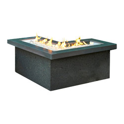 Outdoor Greatroom - Pointe Chat Height Fire Pit Table - The Pointe rectangular outdoor gas Fire Pit Table features a sleek modern design with a black stucco base and Midnight Mist Supercast top. The unique L-shaped stainless steel burner gives this fire pit an edge - perfect for corners, around pools, defining space outdoors and in commercial settings. The Crystal Fire burner is UL listed to guarantee safety while the battery powered igniter makes startup easy. Comes LP ready but includes Natural Gas conversion, and 16 lbs. of Diamond colored fire glass. Product measures 23.75 x 25.5 x 52.75 inches. 1 Year Warranty.