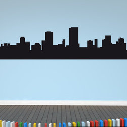 Cape Town Skyline Vinyl Wall Decal or Car Sticker SS005EY; 24 in. - THE DEFAULT COLOR OF THE DECAL IS BLACK.