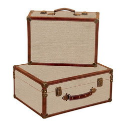 Aspire - Burlap Decorative Suitcases - Set of 2 - This set of wooden trunk suitcases are functional and stylish. The classic design is reminiscent of the 1920's. The brown faux leather trim provides a nice contrast with the light burlap-covered body. Antique brass hardware completes the design. Wood and burlap. Color/Finish: Brown, beige. Decorative in-home use only. 8 in. H x 17 in. W x 13 in. D. 6 in. H x 15 in. W x 11 in. D. Weight: 20 lbs.