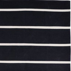 Serena & Lily - Jersey Stripe Dhurrie Black - It was love at first sight when we saw this super-chunky stripe, made all the more dramatic in bold black with slices of natural ivory.
