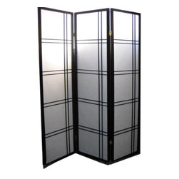 """n/a - Black Oriental Shoji Room Divider - This black and white Shoji Folding Screen is made of elm wood and rice paper warlon panels. Three folding panels for room dividing use or a backdrop in any cottage, traditional or colonial home. Asian double cross grid design is used as a art form and makes a wonderful object. Dimensions: 17 """" w x 1 """" d x 71"""" high each panel. 51"""" wide total for 3 panels.  Light and easy to move, use several to divide a space."""