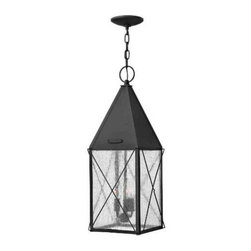 Hinkley - Hinkley 1842BK York 3 Light Outdoor Hanging Lantern in Black 1842BK - York uses authentic exposed rivet construction hand-made in solid aluminum and celebrates the bold traditional lantern design Hinkley is renowned for. This classic hip roof and wire cage turn of the century style comes with a functional interior metallic reflector and rolled top loop. The gallant proportions of its striking silhouette are reinforced with a vintage Black finish, cast face plate and clear seedy glass.Three 60w Candelabra BulbADA Compliant: No Bulb Type: Candle Canopy Diameter: 5 Chain: 60 Collection: York Dark Sky: No Energy Star Compliant: No Finish: Black Glass: Clear Seedy Glass Height: 24-3 4 Leadwire: 72 Material: Aluminum Number of Lights: 3 Outdoor Listed: Yes Safety Rating: c-UL-us Damp Socket 1 Base: Candle Socket 1 Max Wattage: 60 Voltage: 120 Wattage: 60 Weight: 10 Width: 9-1 2