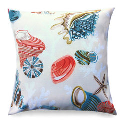 Kahala Outdoor Pillow - A vintage style print of the seas most well known shells graces the top of this pillow in beautiful detail. This outdoor pillow is ideal for a wicker rocking chair or on a covered patio's bench. Bring the magic of the sea into your space and add a playful touch to your coastal decor. Beautiful turquoise and coral make for a charming, fun look that works well with transitional decor.