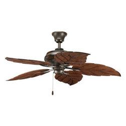 "Progress Lighting - Progress Lighting P2526-20 AirPro 52"" Indoor/Outdoor Ceiling Fan - 52"" indoor/outdoor fan with 5 blades and 3-speed reversible motor. Antique Bronze fan with Washed Walnut"