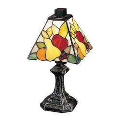 Dale Tiffany - Brass Lamps: 11 in. Fruit Antique Brass Mini Table Lamp TA100122 - Shop for Lighting & Fans at The Home Depot. Perfect for that out of the way area in a kitchen, dining room, breakfast nook or family room, this bright little accent is a sure to bring a smile to your face. Each of the 4 panels on the square shade features still life scene a sunny orange, juicy pear, crisp apples and luscious art glass jewel cherries, all so life like, it is as if you can almost believe that they are real. An intricately carved metal base, finished in antique brass adds the distinctive finishing touch you have come to expect from Dale Tiffany.