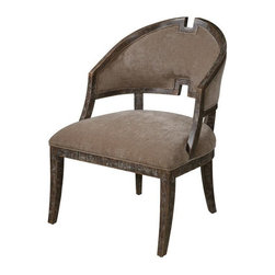 """Carolyn Kinder - Carolyn Kinder Onora Armless Chair X-42132 - Plush, camel brown velvet with a stylish Greek key inspired hardwood frame. Weathered finish shows fine, nutmeg stained wood grain with toffee chipped paint under a hand rubbed glaze. Seat height is 19""""."""