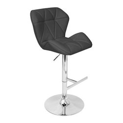 Lumisource - Adjustable Barstool in Black - Comfortable seat. Hydraulics and footrest stand. Perfect accent to the quilt stitched padded seat. 360 degree swivels. Made from PU, foam and chrome. Assembly required. Seat height: 25 in. to 34 in.. Overall: 22.5 in. W x 21.5 in. D x 38.5 in. to 47.5 in. H (20 lbs.)The Jubilee Barstool combines the comfort of a bucket seat with the style of a European sports car.