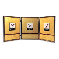 Lawrence Frames - Antique Gold Bead 8x10 Hinged Triple Picture Frame - Gorgeous antique brushed brass finish with delicate beading around the outside edge.  This frame is constructed with heavy gauge steel and is made with quality in mind.  Frame is fitted with beautiful black velvet backing, and is individually boxed.