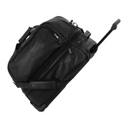 Mercury Luggage - Simulated Leather Expandable Sport Duffle w W - Black lining. Large main compartment with two end zippered pockets. Two zippered side pockets. Inside wheel system with inline skate wheels. Detachable and adjustable shoulder strap. Brass colored hardware with black zippers. 18.5 in. L x 9.75 in. W x 16.38 in. H