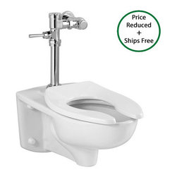 "American Standard - American Standard 3351.001.020 White Afwall Afwall One-Piece Elongated - Afwall One-Piece Elongated Toilet with Right Height Bowl American Standard 3351.001 Features:  Right Height elongated bowl Fully glazed 2-1/8"" trapway Elongated syphon jetted bowl 5.25"" (133.35mm) rough-in 15"" bowl rim height 10"" x 12"" water surface area  American Standard 3351.001 Nominal Dimensions:  26"" D x 14"" W x 15"" H (660.4mm D x 355.6mm W x 381mm H)  American Standard truly is an American Brand to the core. Originally founded in 1872, American Standard began under the name Standard Manufacturing Company, and has played a role in some of our Countries biggest achievements over the years. They have continually manufactured and designed products such as toilets, faucets, sinks that are not only high quality and durable, but are functional, and range from the most classic, traditional designs all the way to the most modern styles you can imagine. When you choose American Standard you are supporting a great American Company and choosing products that are made right, at reasonable prices."