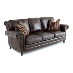 Steve Silver Chateau Leather Sofa with 2 Accent Pillows - Antique Chocolate Brow - No matter your style, the friendly charm of the Steve Silver Chateau Leather Sofa with 2 Accent Pillows - Antique Chocolate Brown is at home anywhere. A durable hardwood frame and accented legs give this traditional beauty the kind of looks you crave. Antique chocolate brown leather upholstery provides a supple hand, and padded foam seats and backs are removable for easy cleaning. The rolled back and arms with antique brass nail head trim add the perfect attention to detail for a piece destined to be a family favorite.About Steve SilverSince its founding in Forney, Texas, in 1987, the Steve Silver Company has had a simple focus: to provide the best quality product at an irresistible price, back it up with uncompromising service, and continue to improve every day. As one of the premier suppliers of dining sets and occasional furniture in the country, Steve Silver is proud to make you, the customer, its top priority, utilizing state-of-the-art equipment, proven operating procedures, and over 500,000 square feet of facilities. You'll feel equally proud displaying furniture from the Steve Silver Company in your home.