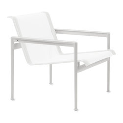 "Knoll - 1966 Collection® Lounge Chair with Arms - Craving furniture that could stand up to the salty environment of her seaside home in Florida, Florence Knoll called on Richard Schultz to create ""a decent set of outdoor furniture made out of materials that won't rust or corrode."" That was in 1962, and Schultz spent the next four years designing his refined 1966 Collection, originally known as the Knoll Leisure Collection. At a time when most outdoor furniture was stamped out of metal with backrests shaped like bouquets of flowers, the 1966 Collection brought the clean lines and balanced proportions of indoor modern furniture to outdoor living. In the years since its debut, the collection has been re-engineered to take advantage of modern materials like Teflon® thread. In creating the 1966 Collection, Schultz satisfied Florence Knoll's request for outdoor furniture that lasts, and many of the sets purchased 50 years ago are still being enjoyed today. The 1966 Collection is included in the permanent collection at MoMA. This is the authentic 1966 Lounge Chair by Knoll. Made in U.S.A."