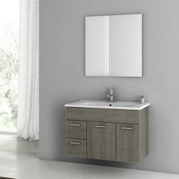 Nameeks - Nameeks | Loren Bathroom Vanity Set - Made in Italy. A part of ACF by Nameek's.Give your bathroom a stylish and chic look with the Loren Bathroom Vanity Set. This set includes a durable vanity cabinet with 2 doors and 2 soft-closing drawers, a fitted porcelain sink, and a mirror. The vanity cabinet is crafted with engineered wood and has waterproof panels to neatly organize your toiletries without worry of water-damage. Its wall mountable organizational element gives you the flexibility to mount it anywhere in a modern bathroom. Product Features: