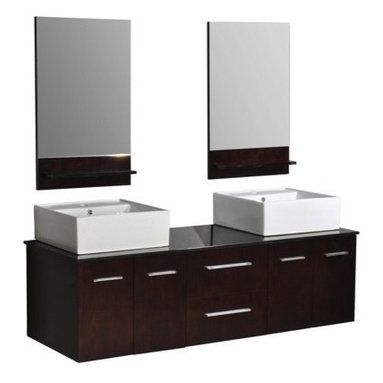 """Belmont Decor DW1D4-60 """"Skyline"""" double vessel sink vanity - APPLY COUPON CODE """"EDHOUZ50"""" AT CHECKOUT. JUST OUR WAY OF SAYING THANKS."""