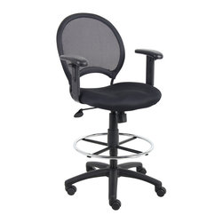 """Boss Chairs - Boss Chairs Boss Mesh Drafting Stool with Adjustable Arms - Open mesh back with solid metal back frame with ballistic nylon wrap. Breathable mesh fabric seat with ample padding. 25"""" nylon base. Hooded double wheel casters. Pneumatic gas lift seat height adjustment. 20"""" diameter chrome footring. Loop arms."""