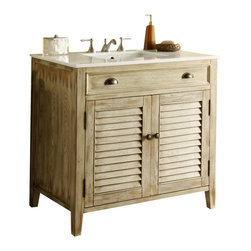 "Cottage look Abbeville Bathroom Sink Vanity Cabinet 36"" - The plantation-inspired look of this cottage-style sink cabinet will add casual elegance to any bathroom decor. With shutter-style doors and faux finish, this bathroom vanity offers a look that will create a relaxing retreat in any home."