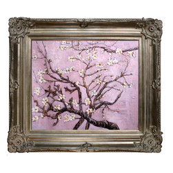 """overstockArt.com - Van Gogh - Branches of an Almond Tree in Blossom (pink) - 20"""" X 24"""" Oil Painting On Canvas Hand painted oil reproduction of a famous Van Gogh painting, Branches of an Almond Tree in Blossom. The original masterpiece was created in 1890. Today it has been carefully recreated detail-by-detail, color-by-color to near perfection. Van Gogh created this painting as a gift for his newborn nephew. The way he made is brush strokes were fitting to the baby because he combined a sense of fragility and energy. A joyous and hopeful image for the child's future. Vincent Van Gogh's restless spirit and depressive mental state fired his artistic work with great joy and, sadly, equally great despair. Known as a prolific Post-Impressionist, he produced many paintings that were heavily biographical. This work of art has the same emotions and beauty as the original. Why not grace your home with this reproduced masterpiece? It is sure to bring many admirers!"""