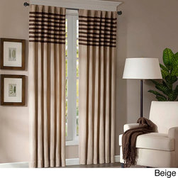 Madison Park - Madison Park Dune Microsuede  Curtain Panel Pair - These microsuede window panels will add a neutral touch to your room decor and make it easy to accessorize. The panels have a dark brown stripe applique across the top to draw the eye up and out.