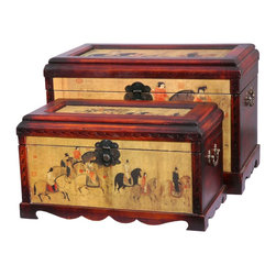 Oriental Furniture - Galloping Horses Storage Boxes (Set of Two) - These two matching trunks depict warriors riding their powerful steeds into battle. Chinese horses were known for their relatively small stature, excellent strength, and endurance, and were used in Chinese art as symbols of strength and perseverance. The beautiful hand-carved aprons on these trunks are a traditional element of Chinese furniture. Built with Philippine mahogany and elm wood, this furniture features an indigenous Fujian lacquering style which uses seven carefully polished layers of lacquer-tree sap to create a complex, beautiful, and sturdy surface; each piece is then antique-finished for a gorgeous authentic look.