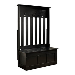 Crosley - Ogden Entryway Hall Tree, Black - Clean up your busy entryway with the Ogden entryway storage bench. This bench features hooks for hanging jackets and backpacks along with storage for shoes, scarves, mittens and hats.