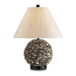 Currey and Company - Amalfi Table Lamp - Natural oyster shells are used to create this organic lamp. The lamp is accented with and oatmeal linen shade and is embellished with black wood accents.