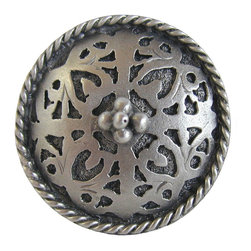 """Inviting Home - Moroccan Knob (antique pewter) - Hand-cast Moroccan-Jewel Knob in antique pewter finish; 1-1/8"""" diameter Product Specification: Made in the USA. Fine-art foundry hand-pours and hand finished hardware knobs and pulls using Old World methods. Lifetime guaranteed against flaws in craftsmanship. Exceptional clarity of details and depth of relief. All knobs and pulls are hand cast from solid fine pewter or solid bronze. The term antique refers to special methods of treating metal so there is contrast between relief and recessed areas. Knobs and Pulls are lacquered to protect the finish. Alternate finished are available."""