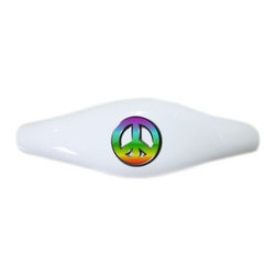 Carolina Hardware and Decor, LLC - Peace Sign Ceramic Cabinet Drawer Pull Handle (Drawer Pull) - New ceramic cabinet, drawer, or furniture pull with mounting hardware included. Pull has standard three inch centers.  Can be wiped clean with a soft damp cloth. Great addition and nice finishing touch to any room!