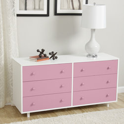 None - Beckham Pink Dresser - Spruce up your bedroom decor with the Beckham dresser in a fun and simple shade of pink accented with white. This modern dresser features six drawers for maximum storage complemented with nickel hardware for a simple finish.